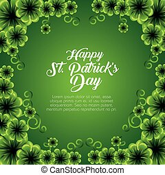 st patrick card with clovers plants decoration