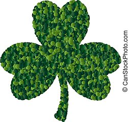 St. Patrick card with green clover leaf consisting of circles