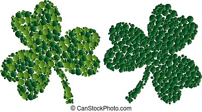 St. Patrick card with two green leaf clover consisting of circles