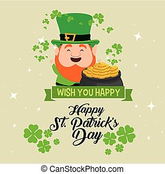 st patrick celebration with clover and hat