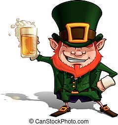 Cartoon Illustration of St. Patrick popular image cheering with a glass of beer. EPS.10 with transparencies. Enjoy!!