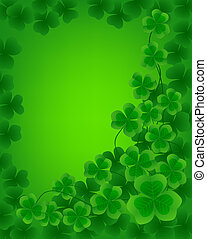 St. Patrick day background with frame of clovers