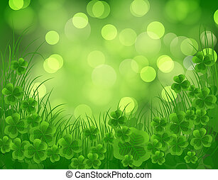 St. Patrick day card, clovers and grass on beautiful spring...