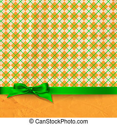 St. Patrick day card, green bow,checked pattern and orange...