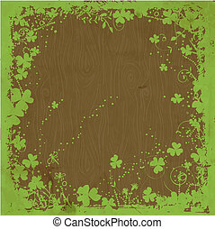 St. Patrick day card, grunge green floral frame with clovers...
