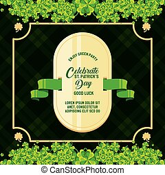 st patrick day card with seal and clovers