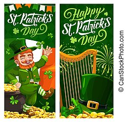 St. Patrick Day cartoon vector celtic banners