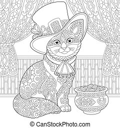 St. Patrick Day cat coloring page