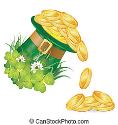 St. Patrick Day Concept with Magician Hat, Gold Coins,...