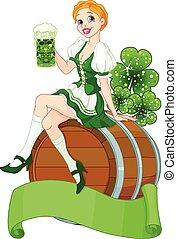 St. Patrick Day girl on the keg