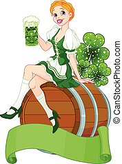Irish girl sits on the keg and holds mug