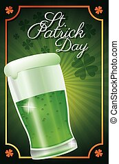 st patrick day glass beer celebration traditional poster clover background