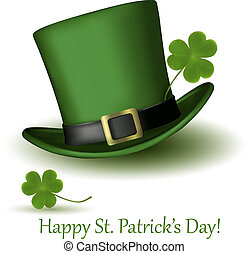 St  Patrick Day hat with clover  Vector illustration