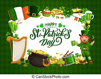 St Patrick day, Irish holiday Celtic luck symbols