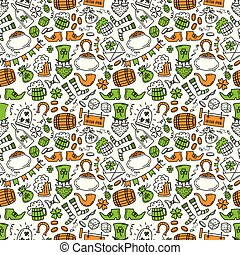 St patrick day irish seamless pattern. Holiday symbols - irish hat, green beer, horseshoe, pot with golden coins,flags on white background.Hand draw doodle style vector illustration.