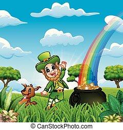 St Patrick day leprechauns celebrate with a pet