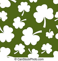 St Patrick day white seamless on green background.vector...