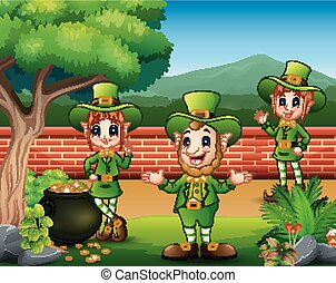 St Patrick exulting with pot of gold