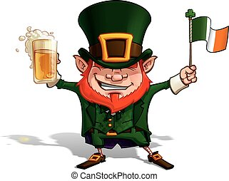 St. Patrick - Flag - Vector Cartoon Illustration of St....