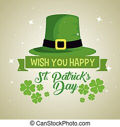 st patrick hat with clovers decoration