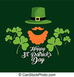 st patrick hat with mustache and beard