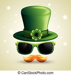 st patrick hat with sunglasses and mustache