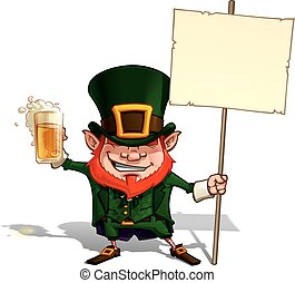 Cartoon Illustration of St. Patrick popular image holding a placard.
