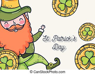 st patrick man with clover gold coins