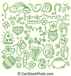 St. Patrick s Day icons set isolated on white background. Hand drawn doodle style vector illustration.