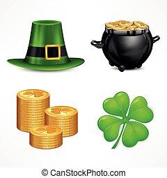 St. Patrick. S Day symbols on white