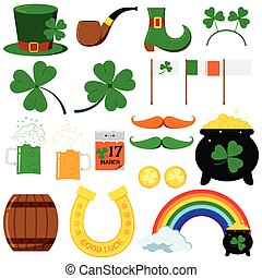 St. Patrick s day vector graphic design icons set isolated on white background.