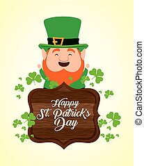 st patrick with wood emblem and clovers
