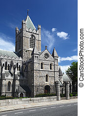 St. Patrick's Cathedral and blue sky in Dublin, Ireland,...