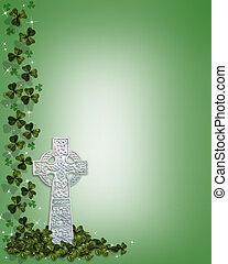 St Patricks Celtic Cross Border - 3D Illustration for St...