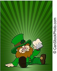 St. Patrick's character sitting on the floor with a mug of beer.Vector