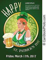 St. Patricks Day 2017. Green party invitation