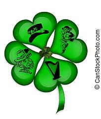 St Patricks Day 4 leaf clover icon