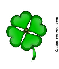 St Patricks Day 4 leaf clover - Shamrock 3D Illustration for...
