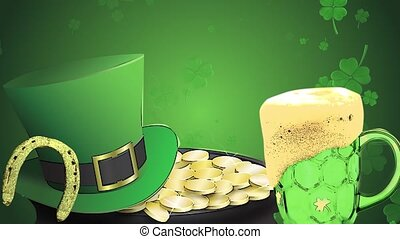 St Patrick's day animation, clover leafs rotating in the...