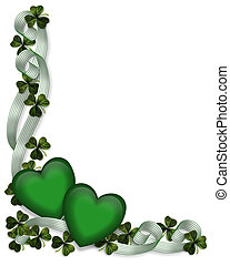 3D Illustration for St Patrick's Day Card, background, border or frame with ribbons, green hearts and shamrocks.