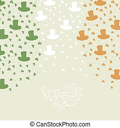 St. Patrick's Day Background. Clover leafs and hats on flag colors background for happy St. Patrick's Day.