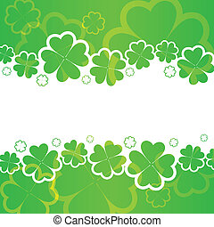 St Patricks Day Background Design with 4 leaf clovers
