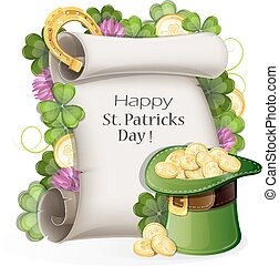 St. patrick's day background - Leprechaun bowler hat,...