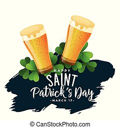 st patricks day background with beer glasses
