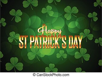 st patricks day background with clover and gold lettering 2001