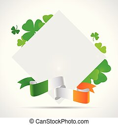 St. Patrick's day background with clover, paper and irish flag