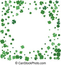 St. Patricks day background with flying clovers.