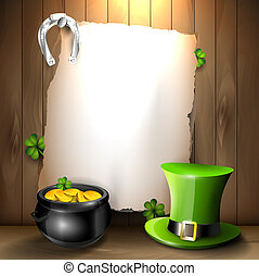 St. Patrick's Day background with green hat, pot and empty...