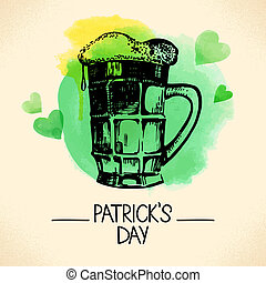 St. Patrick's Day background with hand drawn sketch and waterc