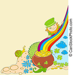 St Patrick's Day background with leprechaun